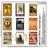 Dolls House Miniature World War One Set of 9 Posters - Set 6