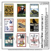 Dolls House Miniature World War One Set of 9 Posters - Set 7