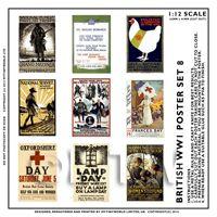 Dolls House Miniature World War One Set of 9 Posters - Set 8