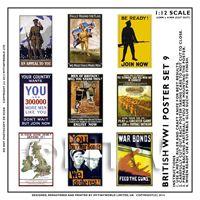 Dolls House Miniature World War One Set of 9 Posters - Set 9
