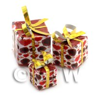 Dolls house Miniature set of 3 Christmas Parcels Style 2