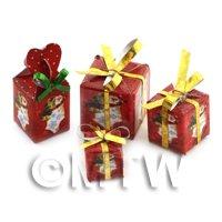 Dolls house Miniature set of 4 Christmas Parcels Style 3