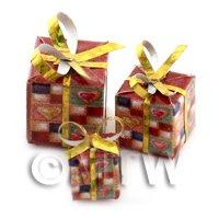 Dolls house Miniature set of 3 Christmas Parcels Style 7