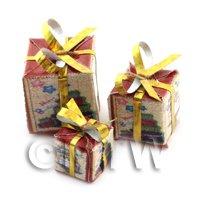 Dolls house Miniature set of 3 Christmas Parcels Style 8