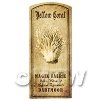 Dolls House Miniature Apothecary Yellow Coral Mushroom Label