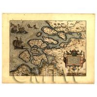 Dolls House Map Of The Zeeland Islands, Netherlands From The 1500s