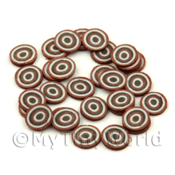 50 Chocolate Bullseye Cane Slices - Nail Art (FNS04)
