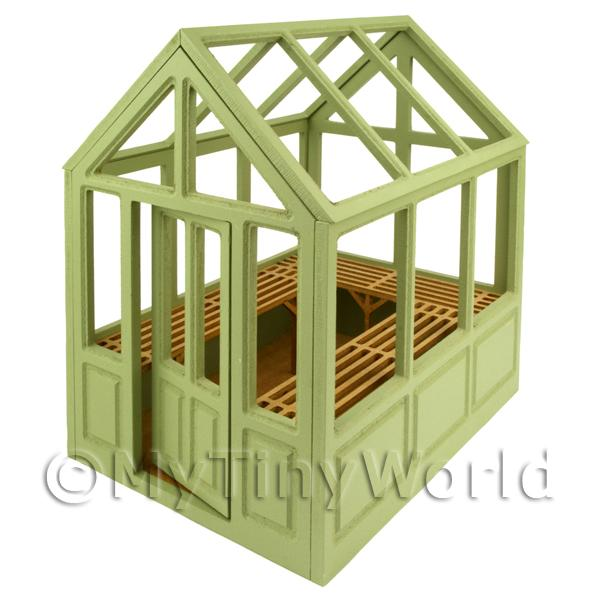 Dolls House Miniature  | Self Assembly Wood Greenhouse With Removable Roof