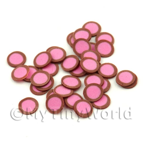 50 Strawberry Fondant Cane Slices - Nail Art (FNS06)