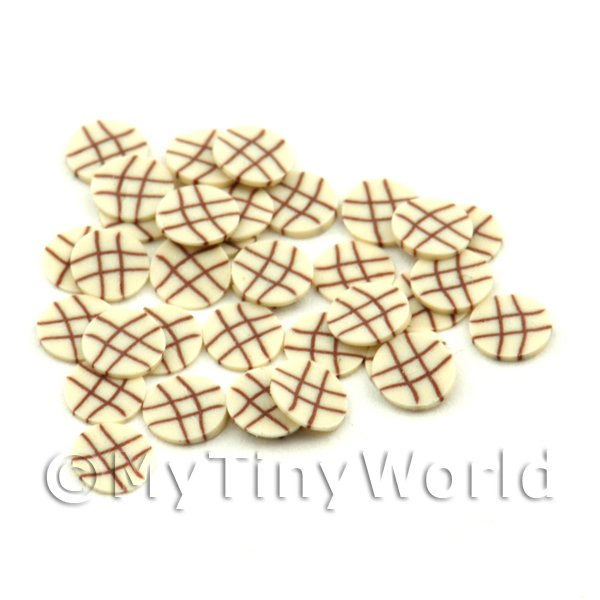 50 White Chocolate Lattice Cane Slices - Nail Art (FNS08)