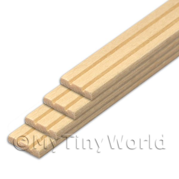 4 x Dolls House Miniature 45cm Wood Moulding (Style 1)