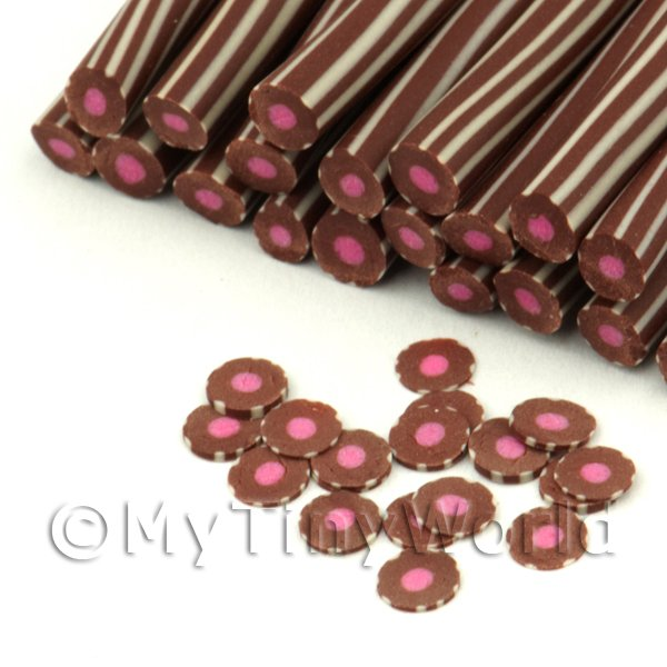 Milk Chocolate With Raspberry Fondant Nail Art Cane (FNC12)
