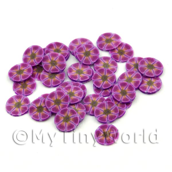 Dolls House Miniature  | 50 Purple Flower Cane Slices - Nail Art (FNS14)