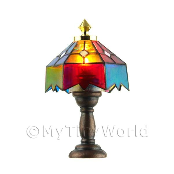 Dolls House Miniature Multi-Coloured Tiffany Table Lamp