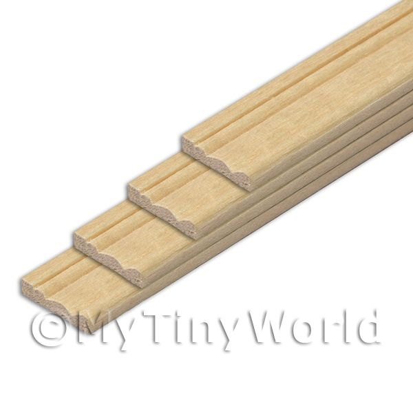 1/12 Scale Dolls House Miniatures  | 4 x Dolls House Miniature 11mm Wood Skirting Board (Style 3)