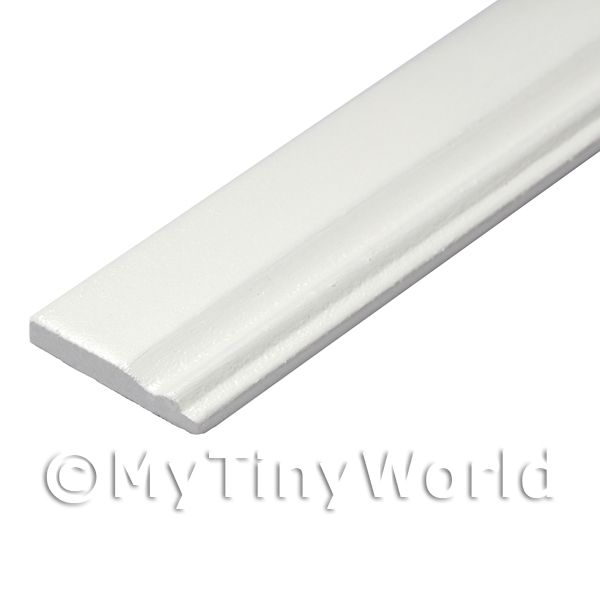 Dolls House Miniature White Painted 20mm Wood Skirting Board (Style 5)