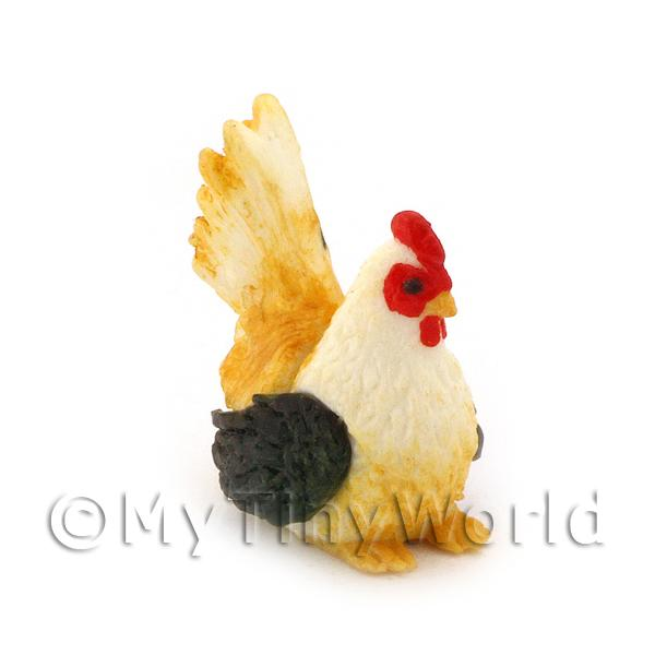Dolls House Miniature  Black, White and Yellow Hen