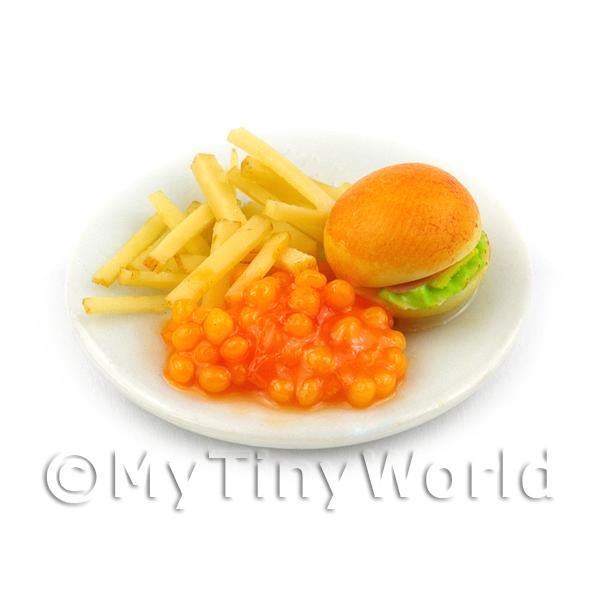 Dolls House Miniature  Bacon Burger, Chips and Baked Beans