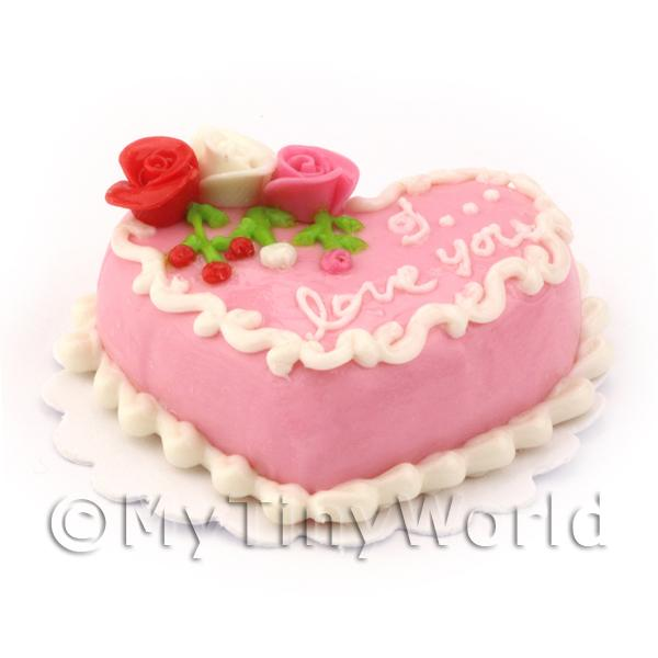 Dolls House Miniature Pink Heart Cake
