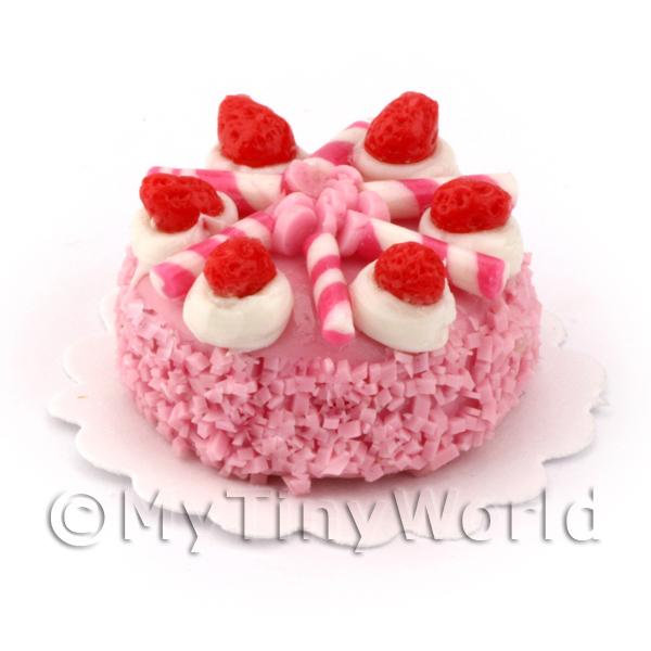 Dolls House Miniature PInk Iced Cake with Strawberries