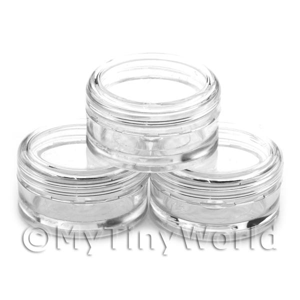 3 Empty Clear Plastic Pots for Art Slices and Glitter