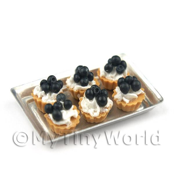 6 Loose Dolls House Miniature  Black Cherry Tarts on a Tray