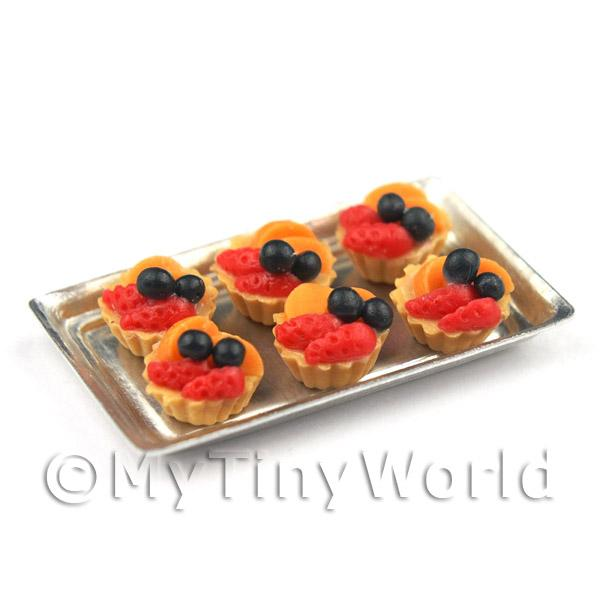 6 Loose Dolls House Miniature  Strawberry and Peach Tarts on a Tray