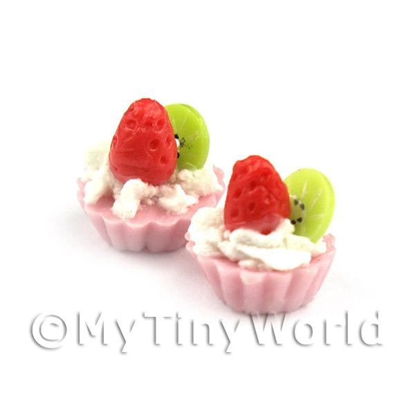 Dolls House Miniature Loose Handmade Strawberry and Kiwi Tart