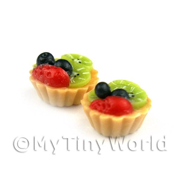 Dolls House Miniature Loose Handmade Black Cherry and Kiwi Tart
