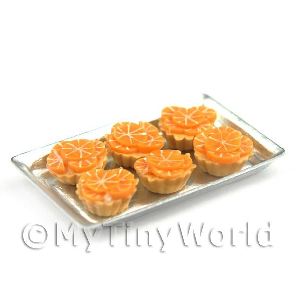 6 Loose Dolls House Miniature  Candied Orange Tarts on a Tray
