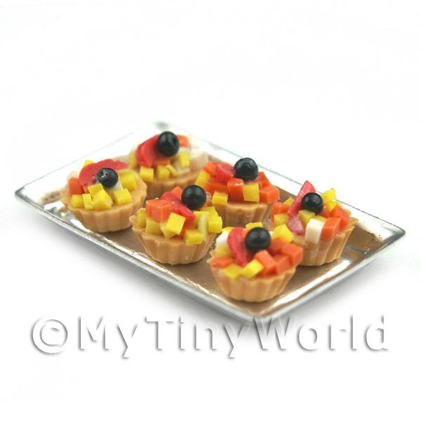 Dolls House Miniature  | 6 Loose Dolls House Miniature  Tropical Fruit Tarts on a Tray