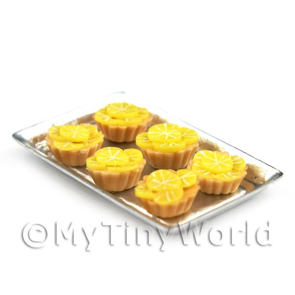6 Loose Dolls House Miniature  Candied Lemon Surprise Tarts on a Tray