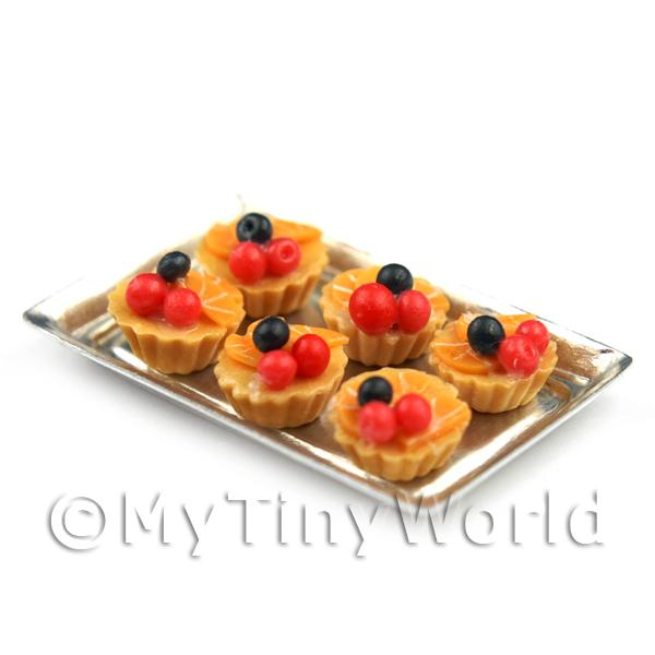 6 Loose Dolls House Miniature  Red Cherry and Orange Tarts on a Tray