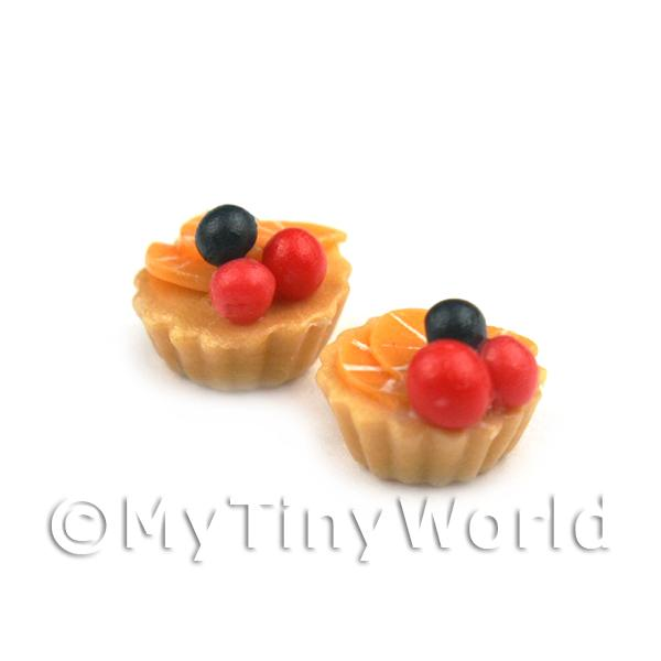 Dolls House Miniature Loose Handmade Red Cherry and Orange Tart