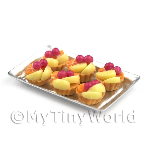 6 Loose Dolls House Miniature  Poached Pear and Cherry Tarts on a Tray