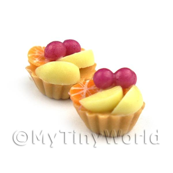Dolls House Miniature Loose Handmade Poached Pear and Cherry Tart