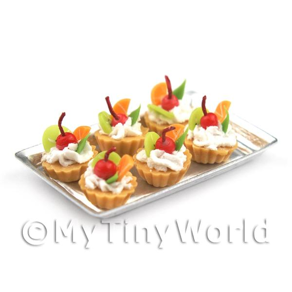 6 Loose Dolls House Miniature  Mixed Fruit Tarts Tarts on a Tray