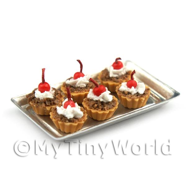 6 Loose Dolls House Miniature  Chocolate Base Tarts on a Tray