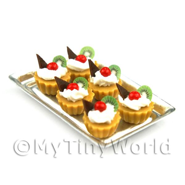 6 Loose Dolls House Miniature  Cherry and Kiwi Tarts on a Tray