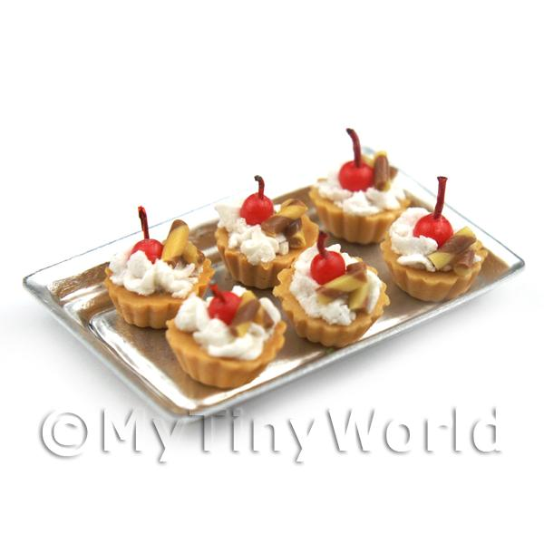 6 Loose Dolls House Miniature  Cherry and Toffee Tarts on a Tray