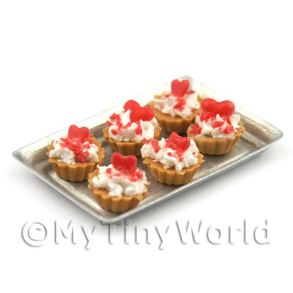 Dolls House Miniature  | 6 Loose Dolls House Miniature  Strawberry Sauce and Red Hearts Tarts on a Tray