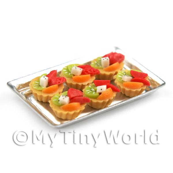 Dolls House Miniature  | 6 Loose Dolls House Miniature  Mixed Fruit Tarts on a Tray