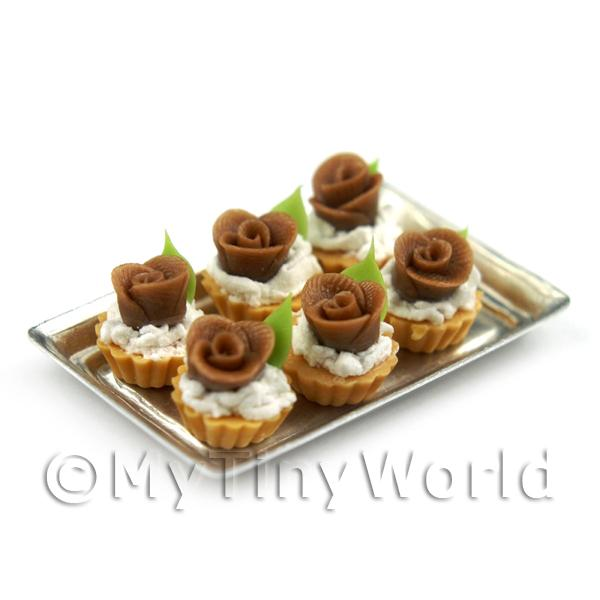 Dolls House Miniature  | 6 Loose Dolls House Miniature  Chocolate Rose Tarts on a Tray