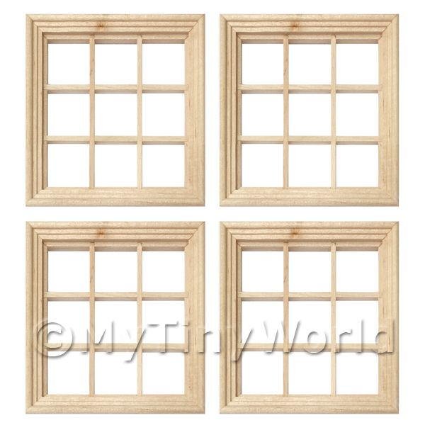 4 x Dolls House Miniature 9 Pane Georgian Windows And Glazing