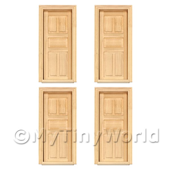 4 x Dolls House Miniature Internal 5 Panel Wood Doors