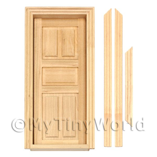 Dolls House Miniature Internal 5 Panel Wood Door