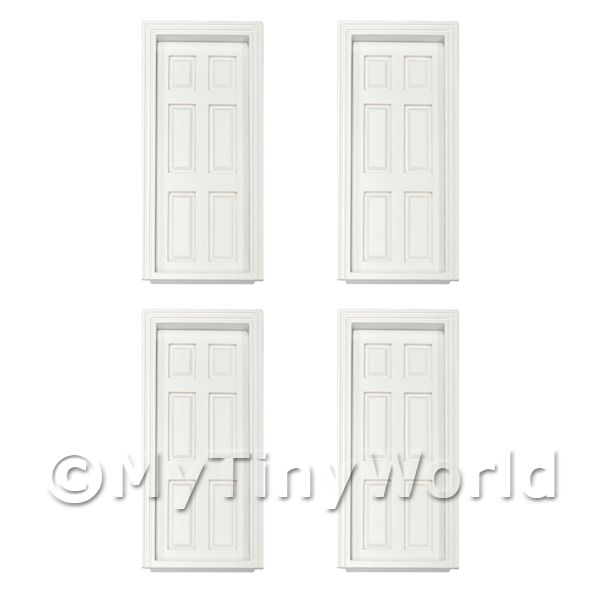 1/12 Scale Dolls House Miniatures  | 4 x Dolls House Miniature White 6 Panel Wood Doors