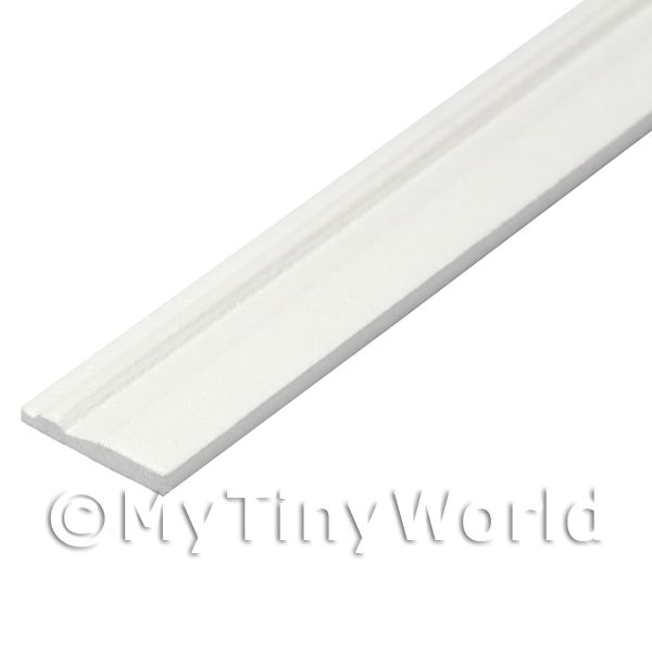 Dolls House Miniature  | Dolls House Miniature White Painted 15mm Wood Skirting Board (Style 6