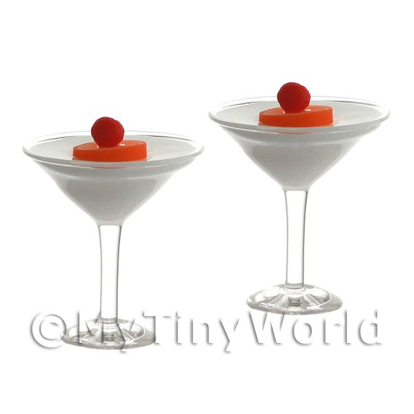 2 Miniature Banana Daiquiri Cocktails In Martini Glasses