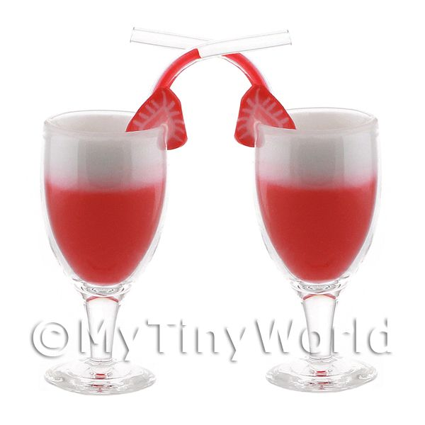 2 Miniature Singapore Sling Cocktails In Handmade Glasses